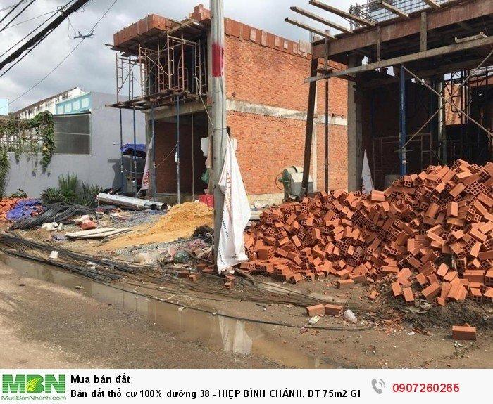 Bán đất thổ cư 100% đường 38 - Hiệp Bình Chánh, DT 75m2 GIÁ 30tr/m2