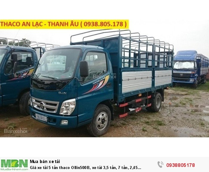 Giá xe tải 5 tấn thaco Ollin500B, xe tải 3,5 tấn, 7 tấn, 2,45 tấn. Hỗ trợ trả góp 75% giá trị xe 2