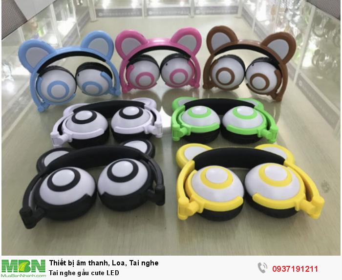 Headphone tai gấu cute for Girls Tai nghe tai gấu cute có đèn LED phát sáng1