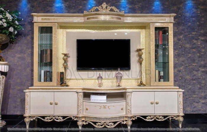 Kệ tivi phòng khách tân cổ điển | kệ trang trí nhập khẩu13