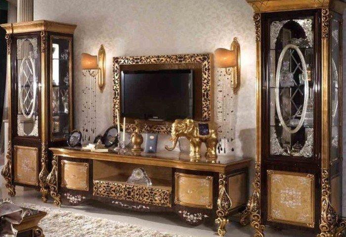Kệ tivi phòng khách tân cổ điển | kệ trang trí nhập khẩu15