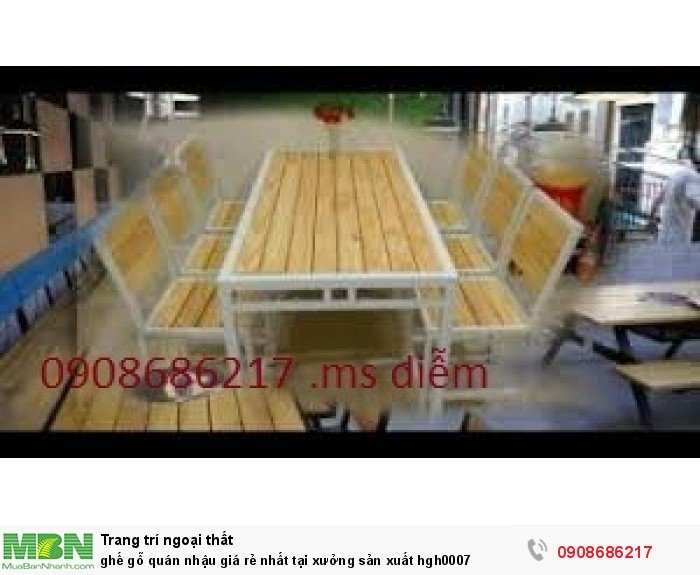 Ghế gỗ quán nhậu giá rẻ nhất tại xưởng sản xuất hgh00072