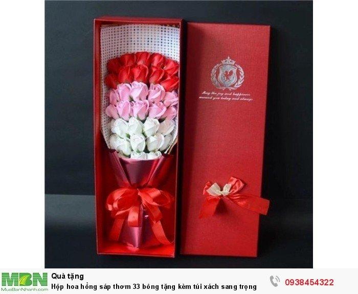 Hộp hoa sáp thơm 33 bông tone đỏ (tặng kèm túi xách)