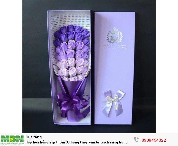 Hộp hoa sáp thơm 33 bông tone tím (tặng kèm túi xách)