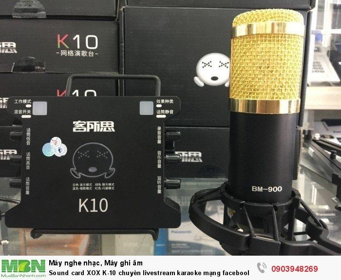 Giá cả Sound card XOX K10 rất hợp lý. Sản phẩm card thu âm giá rẻ này phù hợp các bạn sinh viên, những người đam mê ca hát5