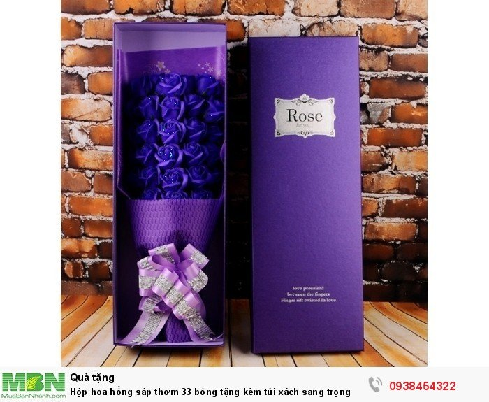 Hộp hoa sáp thơm 33 bông tím (tặng kèm túi xách)