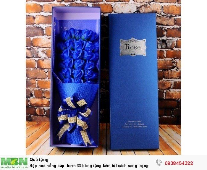 Hộp hoa sáp thơm 33 bông xanh dương (tặng kèm túi xách)