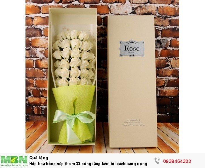Hộp hoa sáp thơm 33 bông vàng nhạt (tặng kèm túi xách)