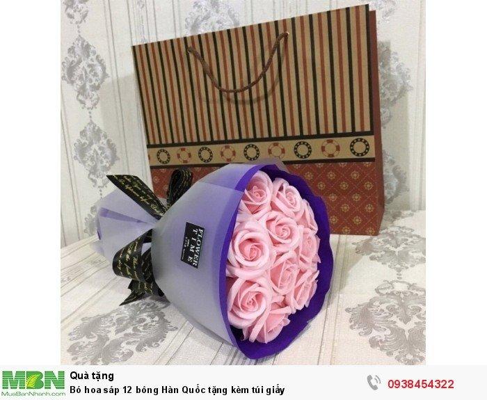 Bó hoa sáp thơm 12 bông hồng phấn (tặng kèm túi xách)