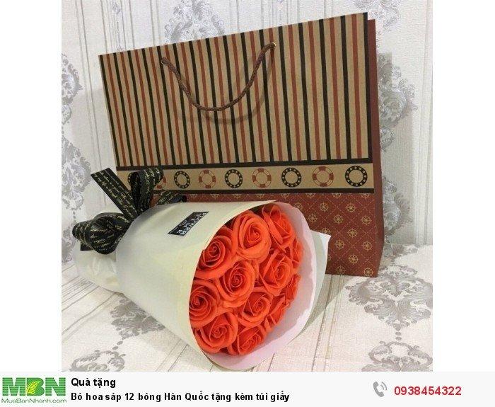 Bó hoa sáp thơm 12 bông cam (tặng kèm túi xách)1