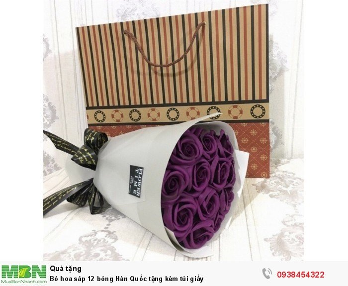 Bó hoa sáp thơm 12 bông tím than (tặng kèm túi xách)2