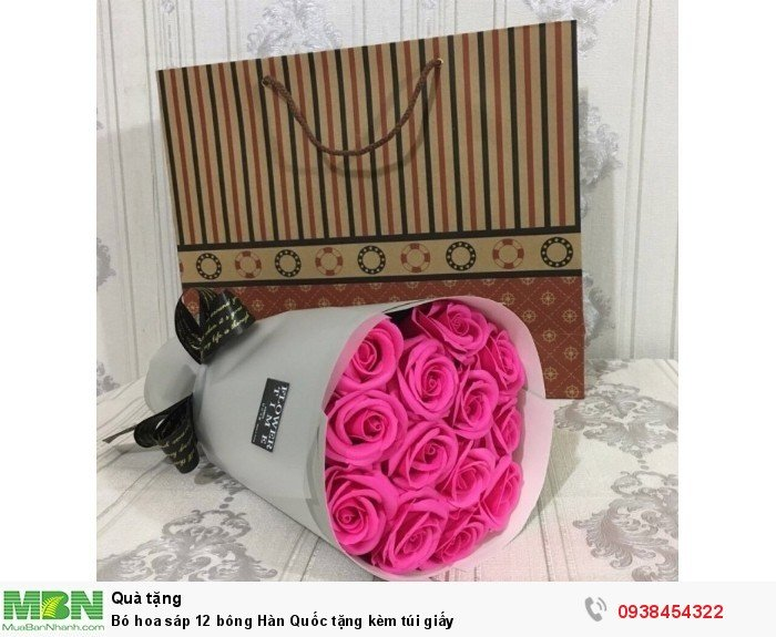 Bó hoa sáp thơm 12 bông hồng sen (tặng kèm túi xách)