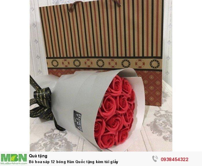 Bó hoa sáp thơm 12 bông đỏ (tặng kèm túi xách)