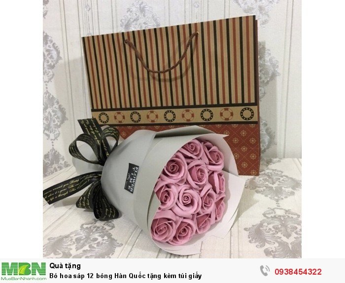Bó hoa sáp thơm 12 bông hồng nude (tặng kèm túi xách)