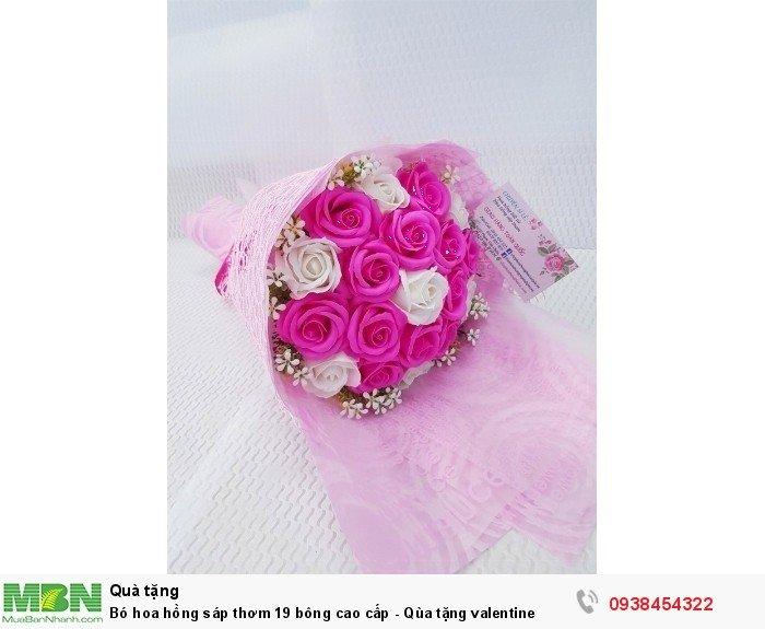 Bó hoa hồng sáp thơm 19 bông cao cấp hồng sen1
