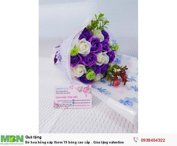 Bó hoa hồng sáp thơm 19 bông cao cấp tím2