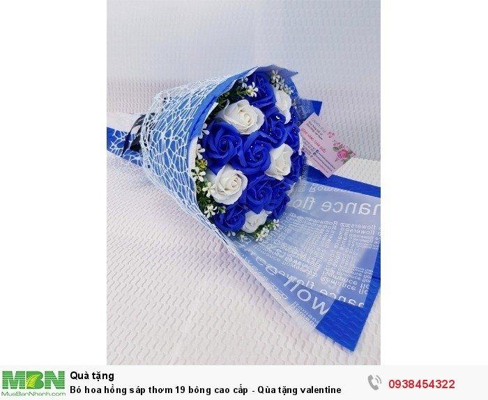 Bó hoa hồng sáp thơm 19 bông cao cấp xanh dương3