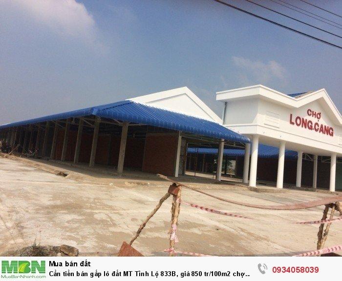 Cần tiền bán gấp lô đất MT Tỉnh Lộ 833B, giá 850 tr/100m2 chợ Long Cang, Cần Đước