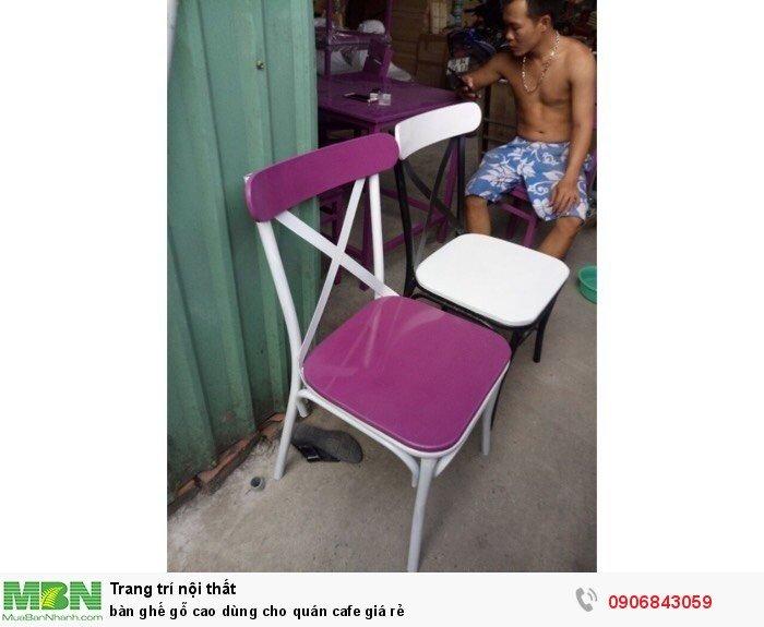 Bàn ghế gỗ cao dùng cho quán cafe giá rẻ1