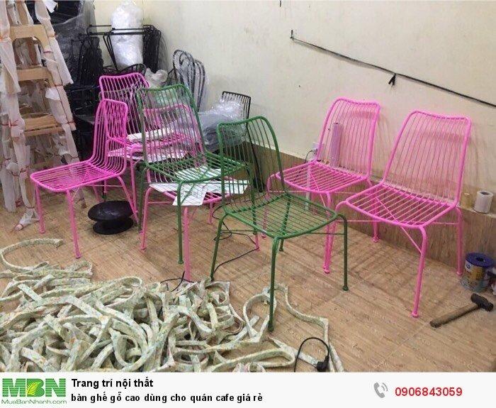 Bàn ghế gỗ cao dùng cho quán cafe giá rẻ2