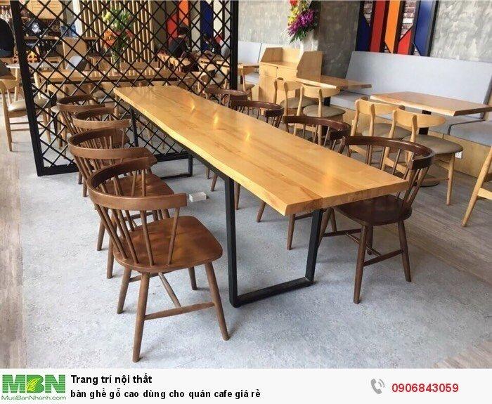 Bàn ghế gỗ cao dùng cho quán cafe giá rẻ3