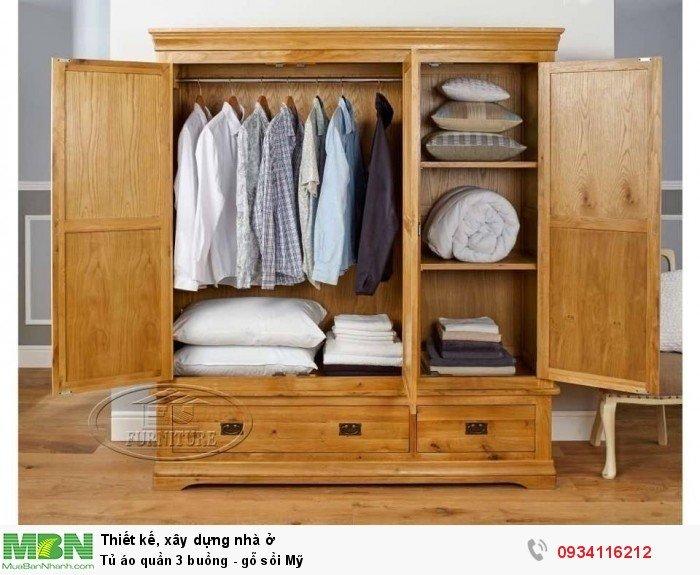 Tủ áo quần 3buồng - gỗ sồi Mỹ