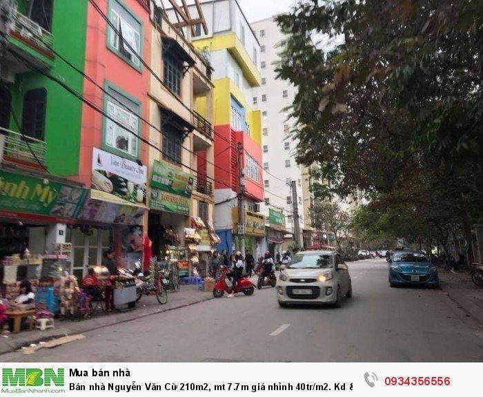 Bán nhà Nguyễn Văn Cừ 210m2, mt 7.7m giá nhỉnh 40tr/m2. Kd & ô tô.