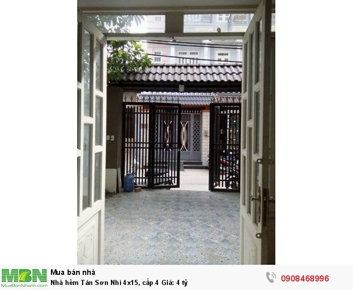 Nhà hẻm Tân Sơn Nhì 4x15, cấp 4 Giá: 4 tỷ