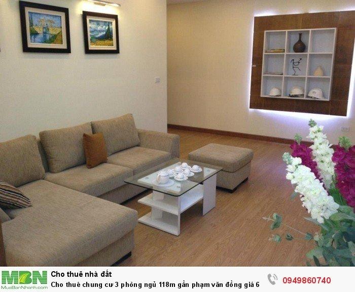 Cho thuê chung cư 3 phòng ngủ 118m gần Phạm Văn Đồng giá 6,5tr