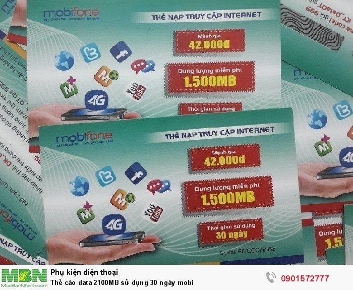 Thẻ cào data 2100MB sử dụng 30 ngày mobi