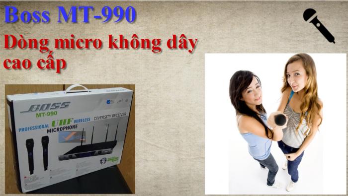 Micro không dây BOSS MT-990 được thiết kế hệ thống sóng UHF đi xa 50-70m,3