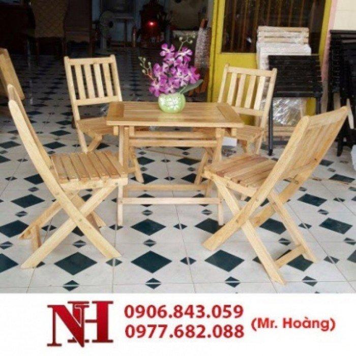 Bàn ghế gỗ xếp cà phê, bàn vuông0