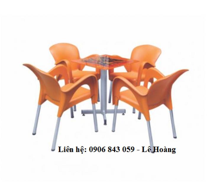 Bộ bàn ghế nhựa cà phê, màu cam0