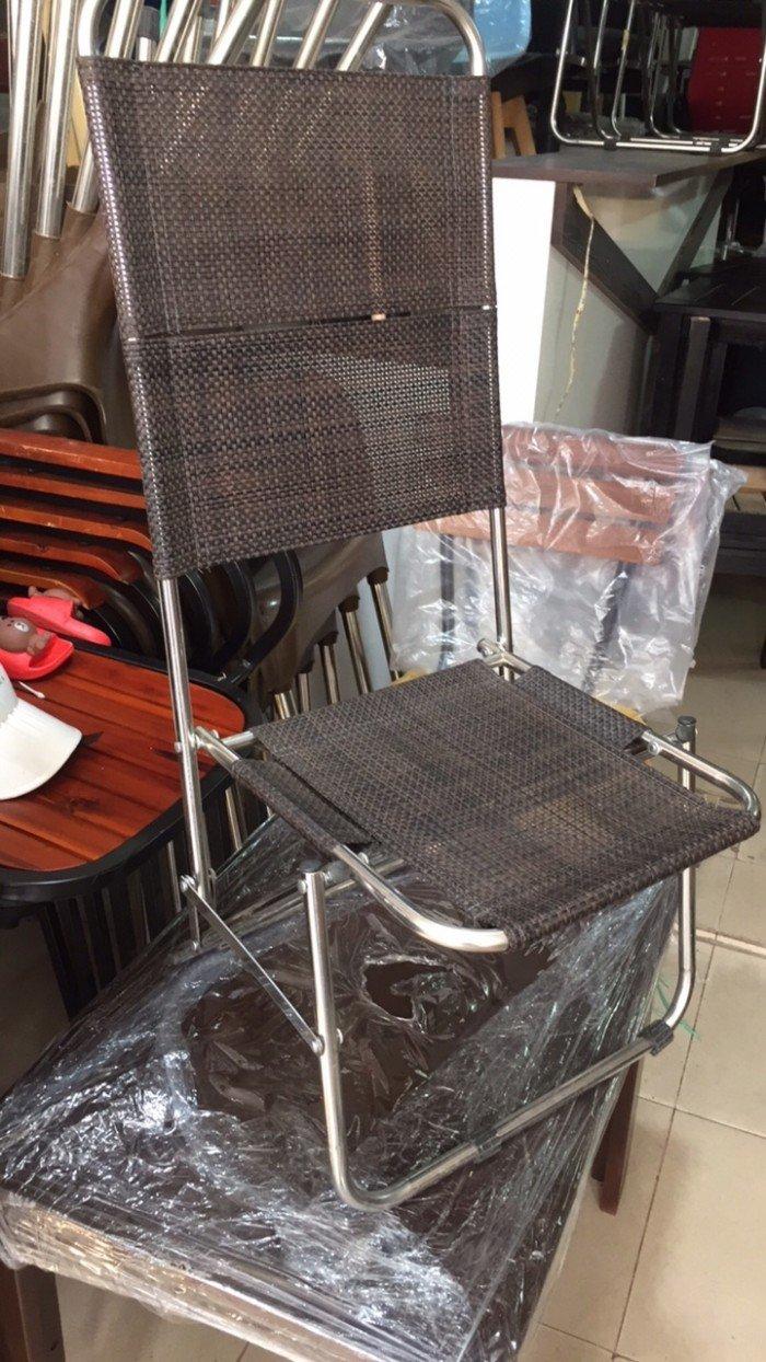 Ghế xếp, ghế vải khung inox cho kinh doanh cafe rất gọn