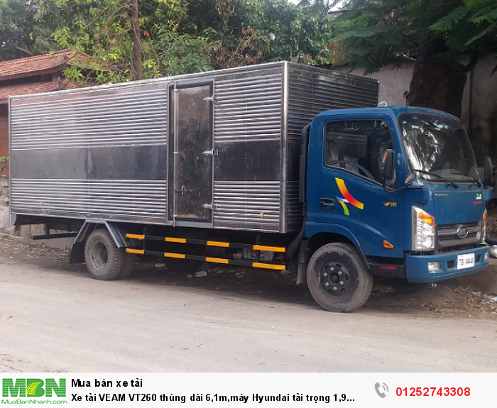 Xe tải VEAM VT260 thùng dài 6,1m,máy Hyundai tải trọng 1,9 tấn,vào thành phố giá cực rẻ.