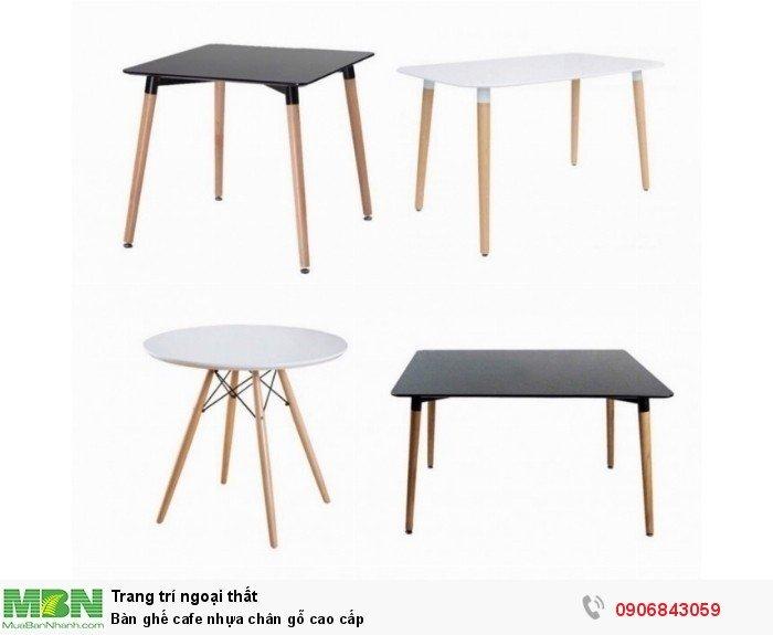 Bàn ghế cafe nhựa chân gỗ cao cấp2