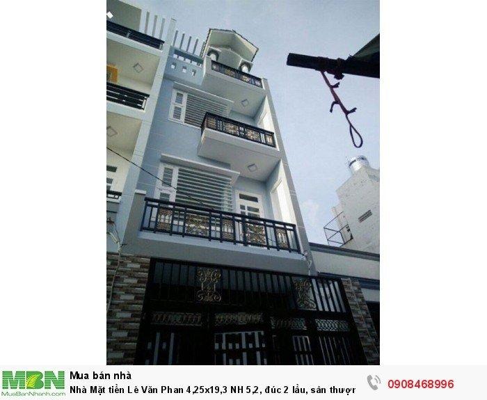 Nhà Mặt tiền  Lê Văn Phan 4,25x19,3 NH 5,2, đúc 2 lầu, sân thượng