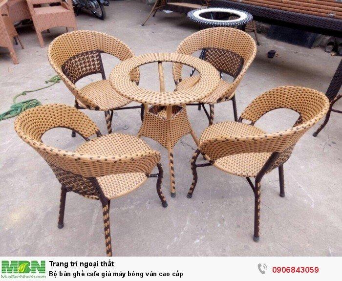 Bộ bàn ghế cafe giả mây bông vân cao cấp. Liên hệ: 0906843059 Lê Hoàng (24/24)0