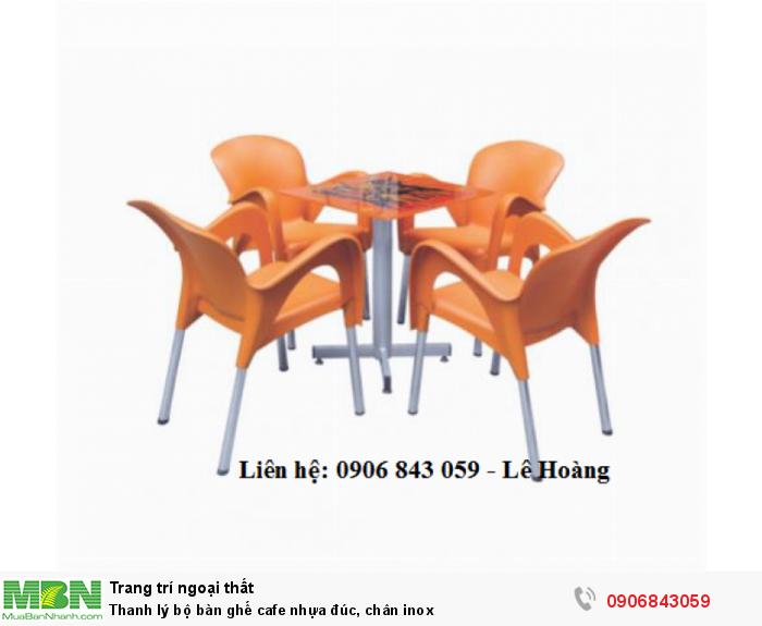 Thanh lý bộ bàn ghế cafe nhựa đúc, chân inox4
