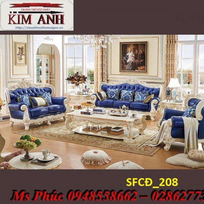 Sofa tân cổ điển phòng khách ms SFCĐ_207 màu hồng pastel giá ưu đãi1