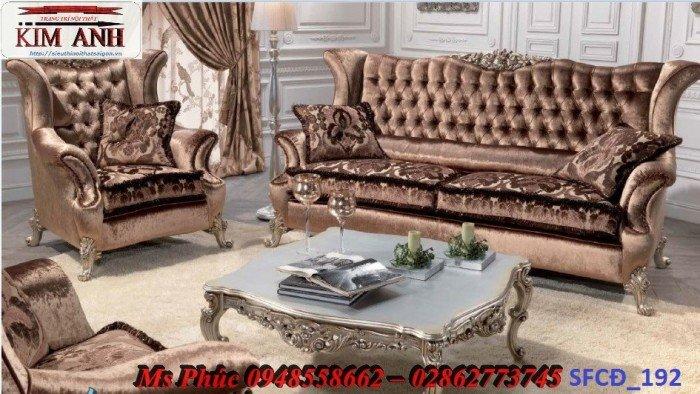 Sofa tân cổ điển phòng khách ms SFCĐ_207 màu hồng pastel giá ưu đãi24