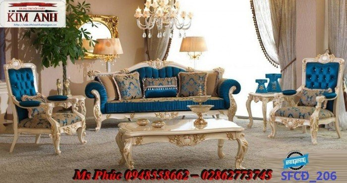 Sofa tân cổ điển phòng khách ms SFCĐ_207 màu hồng pastel giá ưu đãi25