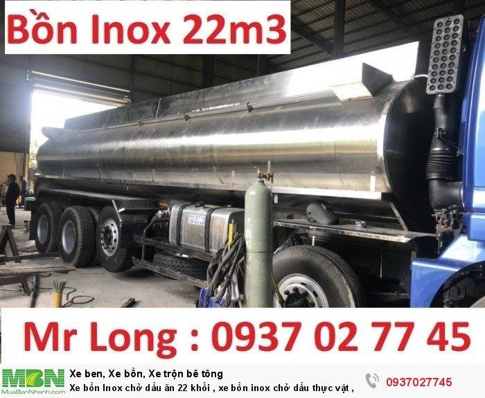 Xe bồn Inox chở dầu ăn 22 khối , xe bồn inox chở dầu thực vật , xe tải THACO auman bồn inox