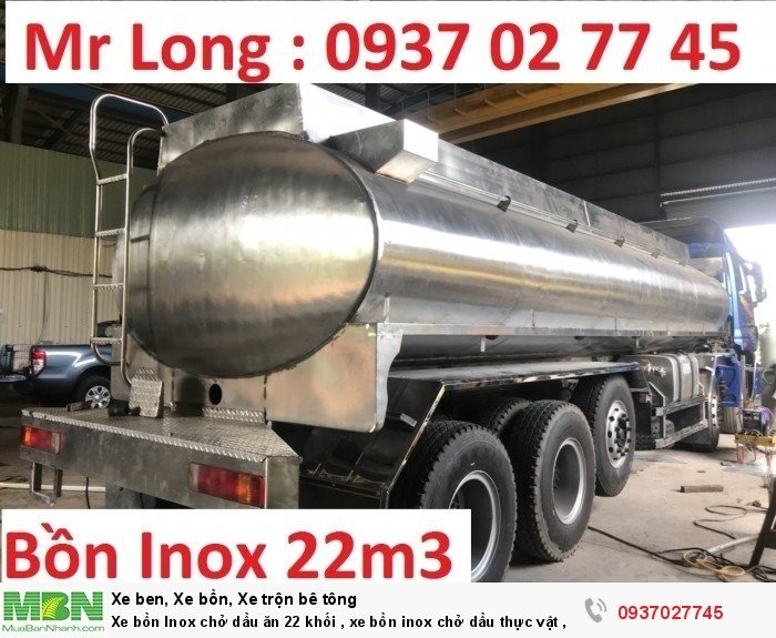 Xe bồn Inox chở dầu ăn 22 khối , xe bồn inox chở dầu thực vật , xe tải THACO auman bồn inox 2