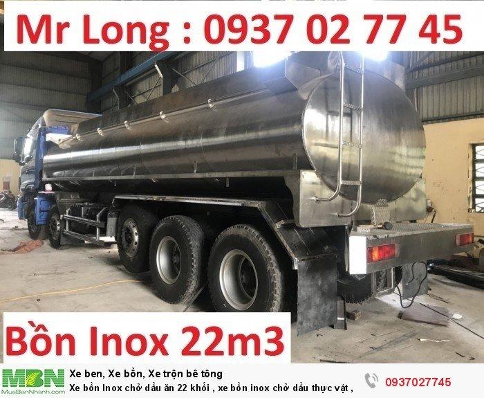 Xe bồn Inox chở dầu ăn 22 khối , xe bồn inox chở dầu thực vật , xe tải THACO auman bồn inox 3