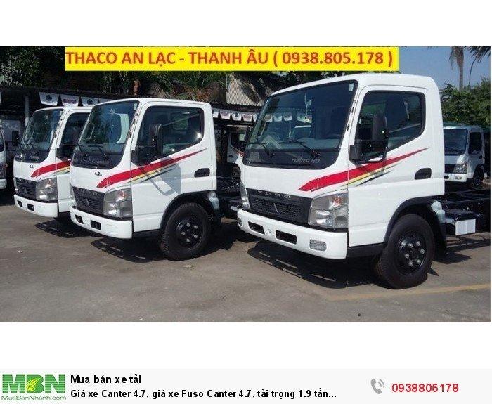 Giá xe Canter 4.7, giá xe Fuso Canter 4.7, tải trọng 1.9 tấn Thaco Trường Hải.