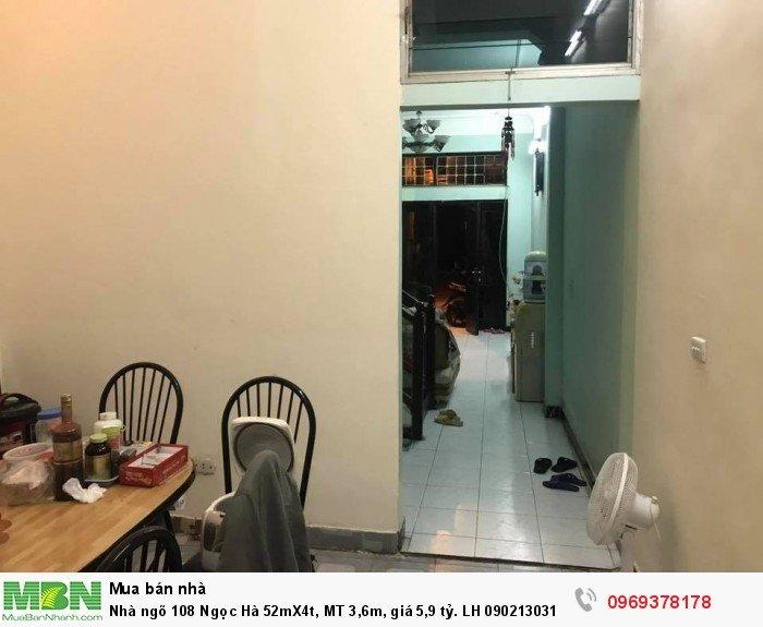 Nhà ngõ 108 Ngọc Hà 52mX4t, MT 3,6m