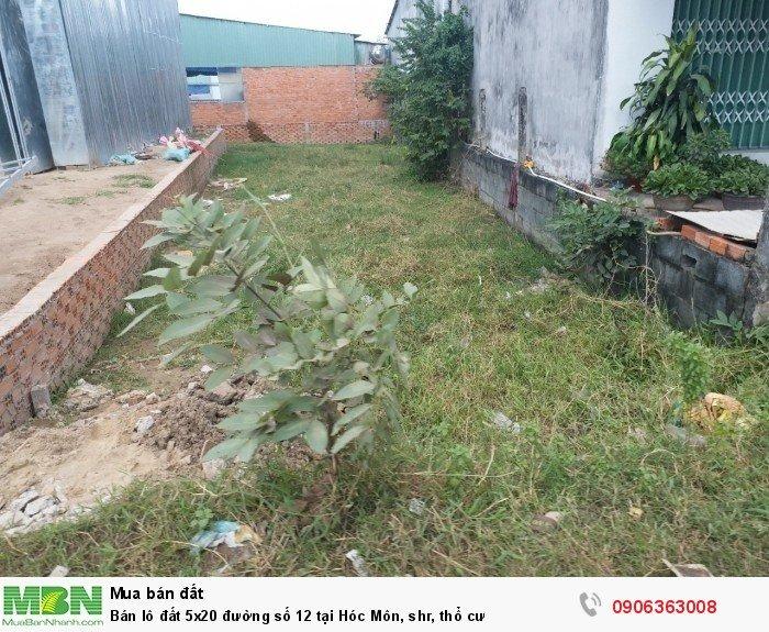 Bán lô đất 5x20 đường số 12 tại Hóc Môn, shr, thổ cư