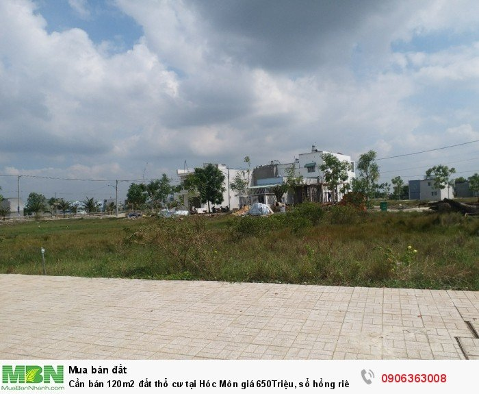Cần bán 120m2 đất thổ cư tại Hóc Môn, sổ hồng riêng