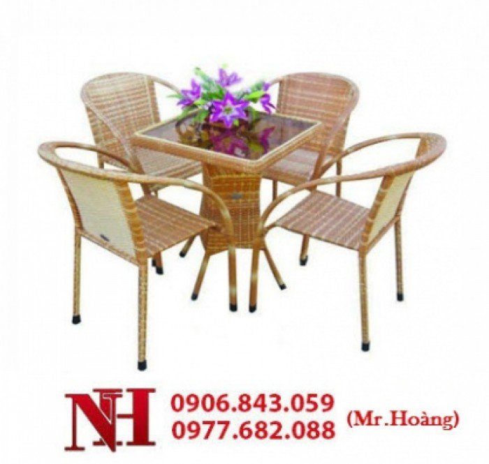 Nhiều bộ bàn ghế nhựa giả mây cho kinh doanh cafe sân vườn giá rẻ. Liên hệ: 0906843059 Lê Hoàng (24/24)0
